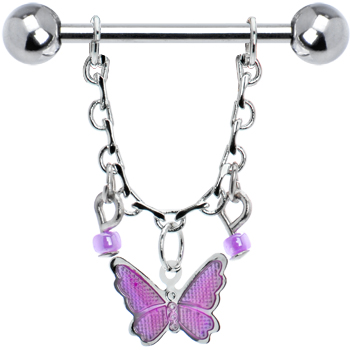 - Sold Individually 14 GA 1.6mm Fluttering Butterflies Belly Button Ring